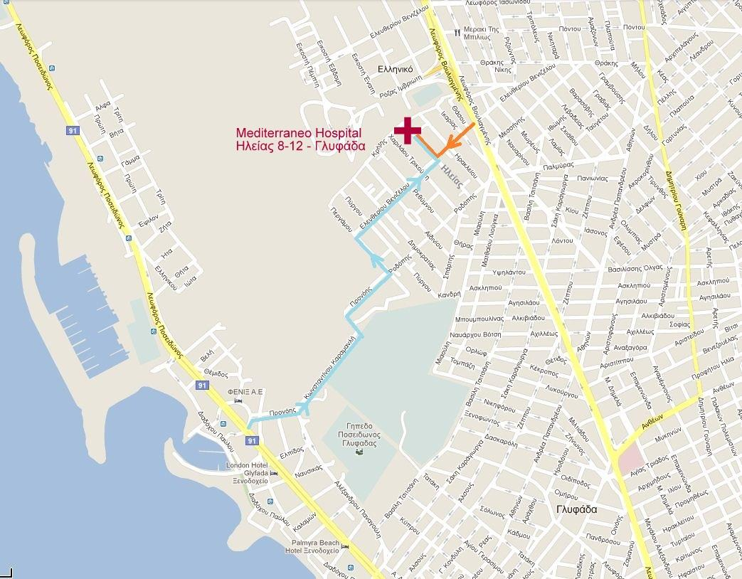 Map Mediterraneo Hospital Glyfada